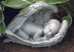 Sleeping Baby in Angel Wings Statue