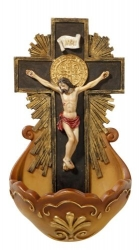 Crucifix Holy Water Font - St Benedict Medal