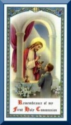 First Communion Holy Card for Boy