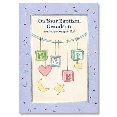 Baptism Card - For Grandson - Baptism Cards