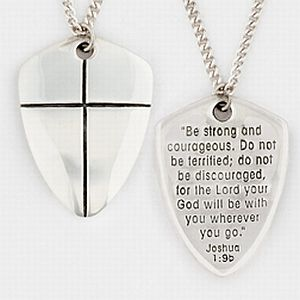 Sheild of faith pendant be strong and courageous pendant mens shield of faith pendant large aloadofball Images