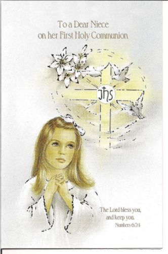 First Communion Card For Niece For Communion Girl First Communion Cards
