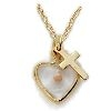 Mustard Seed Heart Pendant with Gold Cross
