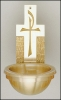 Bronze Chi Rho Holy Water Font