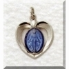 Miraculous Medal - Blue Heart - Sterling 5/8 inch