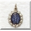Small Blue Miraculous Medal - Sterling - 1/2 inch